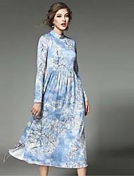 Gaine Robe Femme Soirée / Cocktail Vintage,Imprimé Col Roulé Midi Manches Longues Bleu Polyester Printemps Taille Haute Non Elastique