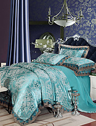 High Quality Queen King Size Bedding Set Luxury Silk Cotton Blend Lace Duvet Cover Sets Jacquard Pattern