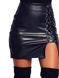 cheap -Women's Party/Cocktail Club Above Knee Skirts,Simple Sexy Bodycon Criss-Cross Solid Spring Fall