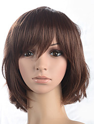 cheap -Synthetic Wig Curly Bob Haircut / Short Bob / With Bangs Synthetic Hair With Bangs Brown Wig Women's Medium Length Capless