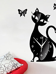cheap -New Arrival Cartoon Cute Cat Wall Clock Mute Children Bedroom Wall Clock Creative Decoration