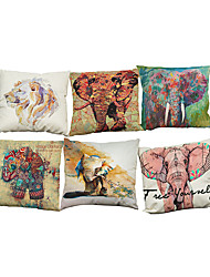 Set of 6 Ink elephant pattern  Linen Pillowcase Sofa Home Decor Cushion Cover