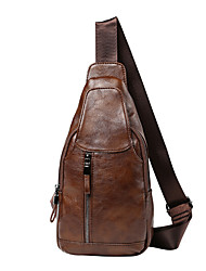 cheap -Men's Bags leatherette / PU(Polyurethane) Shoulder Bag Zipper Black / Coffee