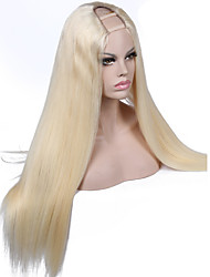 cheap -Women's Human Hair Lace Wig Human Hair 130% Density Straight Wig Light Blonde Short Medium Long 100% Hand Tied African American Wig