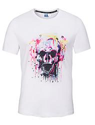 Masculino Camiseta Para Noite Casual Férias Fofo Moda de Rua Activo Primavera Verão,Estampado Branco Poliéster Decote Redondo Manga Curta