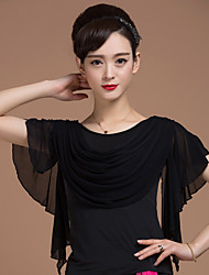 Ballroom Dance Tops Women's Training Viscose Splicing 1 Piece Short Sleeve Natural Top