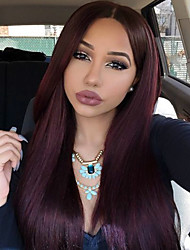 130% Density Brazilian Virgin Hair Lace Front Wigs Straight Hair 99J Color Human Virgin Hair Lace Wigs For Fashion Woman