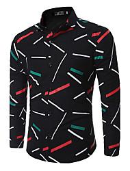 Недорогие -Мужчины На выход На каждый день Офис Весна Осень Рубашка Классический воротник,Простое Уличный стиль Геометрический принтСиний Красный
