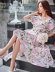 Gaine Balançoire Chemise Robe Femme Vacances Sortie Plage Vintage Bohème Sophistiqué,Fleur Couleur Pleine Col en V Midi Asymétrique½