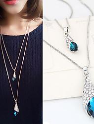 Недорогие -Жен. В форме свечи форма Мода Двойной слой Ожерелья с подвесками Синтетические драгоценные камни Стразы Сплав Ожерелья с подвесками