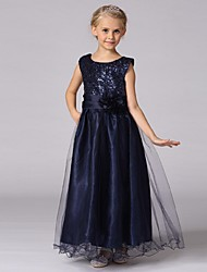 Ball Gown Ankle Length Flower Girl Dress - Organza Sleeveless Jewel Neck with Sequin
