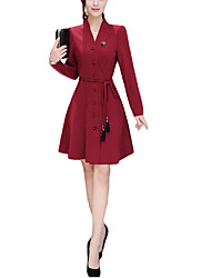 cheap -Women's Daily Going out Holiday Casual Street chic Sophisticated Loose Sheath Dress,Polka Dot V Neck Knee-length Long Sleeves Polyester