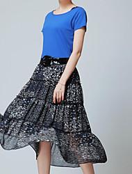 abordables -De las mujeres Vestido Vintage / Casual Midi Algodón / Poliéster / Raso / Punto