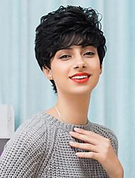 attraente breve senza cappuccio parrucche naturale dei capelli umani ricci 2017