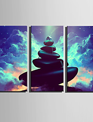 E-HOME Stretched Canvas Art Fantasy House On The Stone Decoration Painting Set Of 3