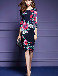 Women's Going out Vintage Bodycon Dress,Floral Round Neck Knee-length Polyester Spring High Rise Micro-elastic Medium