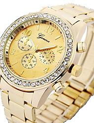 baratos -Mulheres Relógio de Moda / Simulado Diamante Relógio PU Banda Prata / Marrom / Dourada