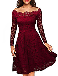 cheap -Women's Going out Sexy Street chic Plus Size A Line Lace Knee-length Dress, Solid Off Shoulder Long Sleeves Spring Fall