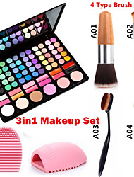 3in1 Make-up Set (78 Farben 3in1 60 Lidschatten 12 Lippenstift 6 Rouge Make-up Kosmetik-Palette + 1 errötenpinsels + 1 Pinsel Ei)
