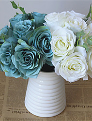1Pc The 10 Head Rose Bride Wedding Bridesmaid Bouquets Flower Vase Home Furnishing Living Room Table