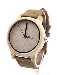 Недорогие -Муж. Жен. Модные часы Часы Дерево Кварцевый Дерево Хаки / Аналоговый На каждый день - Кофейный