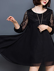 Women's Daily Going out Plus Size Cute Casual Sexy Loose Dress,Solid Round Neck Above Knee Long Sleeves Others All Seasons High Rise