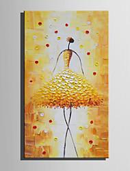 Недорогие -Ручная роспись Люди Вертикальная, Modern Европейский стиль холст Hang-роспись маслом Украшение дома 1 панель