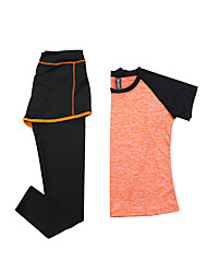 cheap -Women's Running T-Shirt with Pants Short Sleeves Quick Dry Breathable Clothing Suits for Yoga Exercise & Fitness Running Modal Polyester