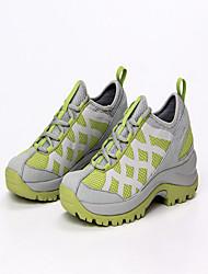Feminino-Tênis-Conforto-Salto Baixo-Cinzento Claro Verde Claro-Couro Tule Microfibra-Ar-Livre Para Esporte