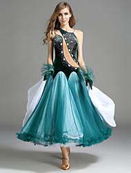 Ballroom Dance Dresses Women's Performance Tulle Velvet Ruffles Crystals/Rhinestones Sleeveless Natural Dress Gloves