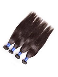 Недорогие -Натуральные волосы Пряди натуральных волос Реми Прямой Бразильские волосы 400 g 1 год