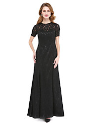 cheap -A-Line Jewel Neck Floor Length All Over Lace Mother of the Bride Dress with Beading by LAN TING BRIDE®