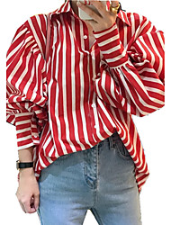 Women's Going out Work Club Vintage Street chic Sophisticated All Seasons Shirt,Striped Shirt Collar Long Sleeves Others Opaque