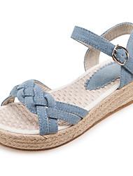 Women's Sandals Spring Summer Fall Denim Casual Office & Career Dress Buckle Flat Heel Dark Blue Light Blue 1in-1 3/4in