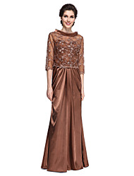 cheap -Sheath / Column High Neck Floor Length Lace Stretch Satin Mother of the Bride Dress with Beading Lace Side Draping by LAN TING BRIDE®