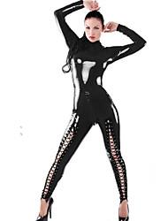 Для женщин Комбинация Ночное белье,Сексуальные платья Однотонный-Средний Лакированная кожа Черный