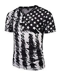cheap -Men's Daily Sports Going out Holiday Boho Punk & Gothic Street chic Spring Summer T-shirt,Print V Neck Short Sleeves Polyester Thin