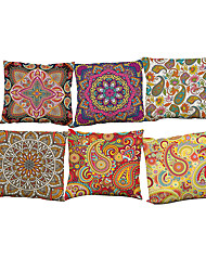 "cheap -Set of 6 Retro Floral Linen Cushion CoverDecorative Cushion Covers Pillowcases(18""*18"")"