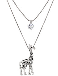 cheap -Women's Rhinestone Imitation Diamond Pendant Necklace - Fashion Double-layer Deer Giraffe Animal Necklace For Party Daily