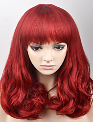 cheap -Synthetic Hair Wigs Loose Wave With Bangs Capless Carnival Wig Halloween Wig Natural Wigs Medium Red Synthetic Wig