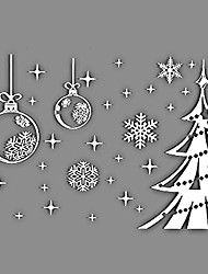 cheap -Window Stickers Window Decals Style Snowflake Christmas Tree Window Glass Decoration PVC Window stickers