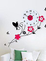 cheap -Pastoral Birds Flowers Mute Quartz Bedroom Child Watch Large Wall Clock Horloge Murale Reloj de Pared Wanduhr