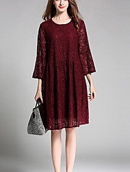 cheap -Women's Going out Holiday Plus Size Simple Vintage Sexy Loose Lace Dress,Jacquard Round Neck Knee-length Cotton Polyester Spring Mid Rise