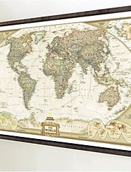 cheap -1Pcs 70Cm*52Cm Vintage Retro Matte Kraft Paper World Map Antique Poster Wall Sticker Home Decor Not Including Frame