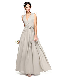 A-Line V-neck Floor Length Chiffon Bridesmaid Dress with Bow(s) Sash / Ribbon by LAN TING BRIDE®