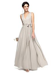 Linea-A A V Lungo Chiffon Vestito da damigella con Fiocco (fiocchi) Fascia / fiocco in vita di LAN TING BRIDE®