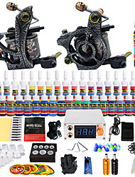 cheap -Tattoo Machine Starter Kit 2 alloy machine liner & shader LCD power supply 2 x aluminum grip 20 pcs Tattoo Needles