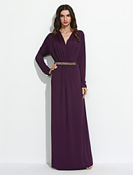 Women's Plus Size / Daily Simple / Street chic Ruched Slim Sheath DressSolid V Neck Maxi Long Sleeve