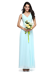 cheap -Sheath / Column V Neck Floor Length Chiffon Bridesmaid Dress with Side Draping / Criss Cross by LAN TING BRIDE®