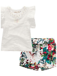 cheap -Girls' Daily Clothing Set, Cotton Polyester Summer Short Sleeves Floral Ruffle White